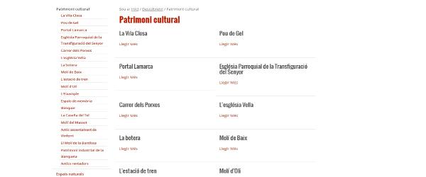 Continguts de Turisme a la web de Juneda
